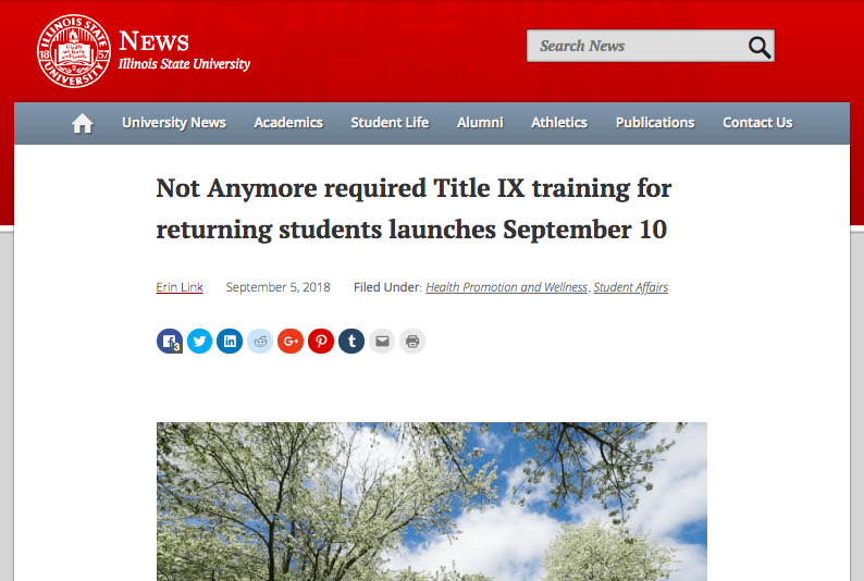 Illinois State University uses Not Anymore Training